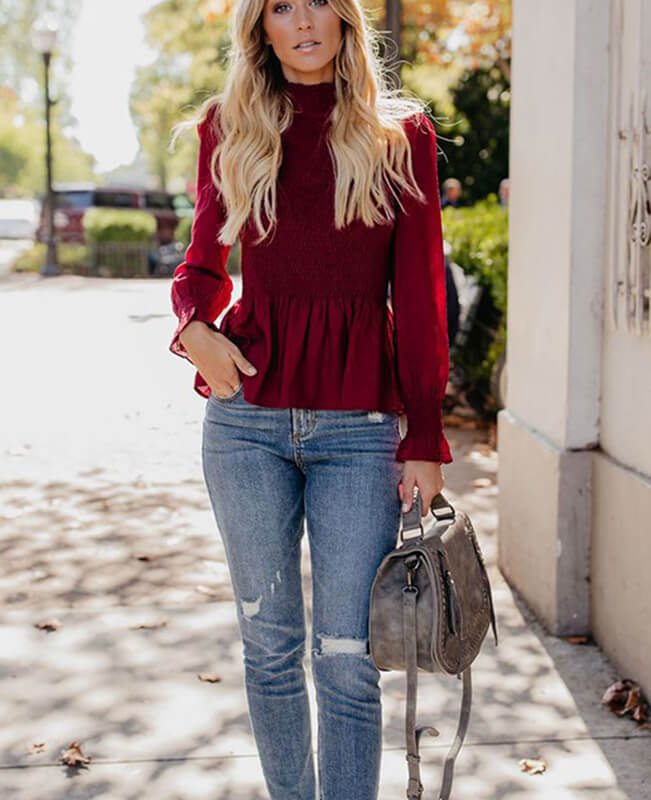 Long Sleeve Frilled Trim Chiffon Blouse