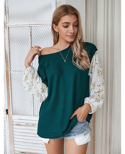 Loose Long Sleeve Patchwork Floral Shirts