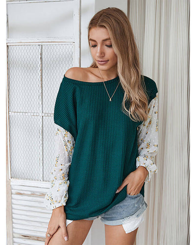 Sweet Long Sleeve Patchwork Floral Shirt