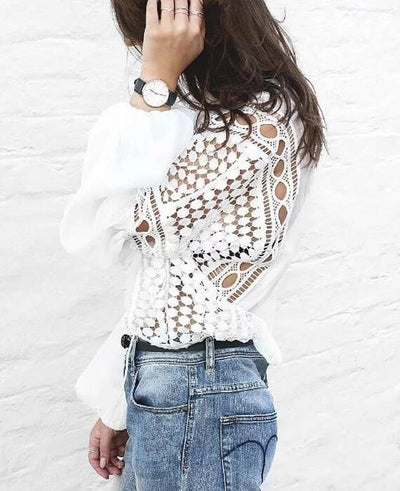 Loose White Lace Hollow Out Lantern Shirt Blouse