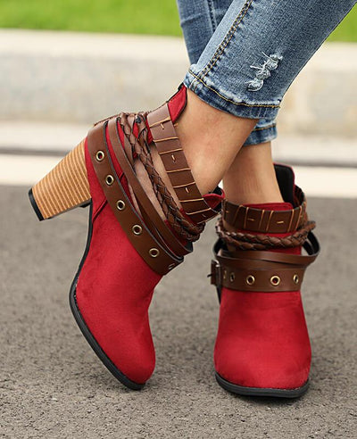 Metal Belt Thick Heel Buckle Boots-3