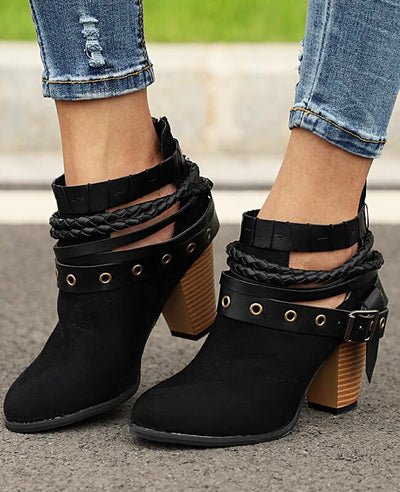 Metal Belt Thick Heel Buckle Boots-6