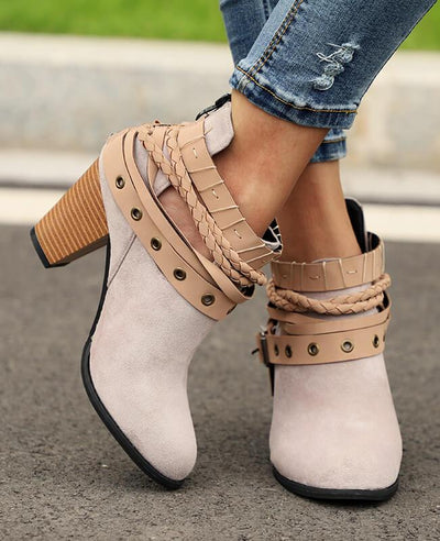 Metal Belt Thick Heel Buckle Boots-2