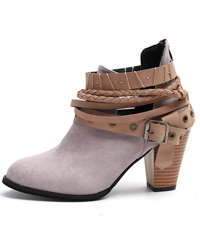 Metal Belt Thick Heel Buckle Boots-7