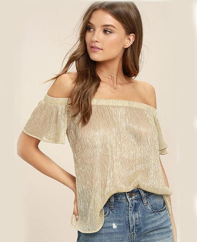 Metal Off the Shoulder T-Shirt Sexy Top