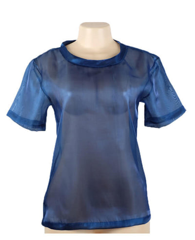 Metallic Shimmer Mesh Short Sleeve O-neck Tops