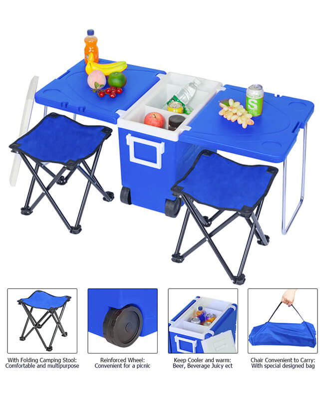 Multi-Function Rolling Cooler Picnic Beach Cooler with Wheels