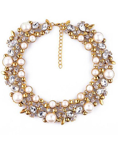 Simulated Pearl Vintage Necklace Collar Choker Jewelry