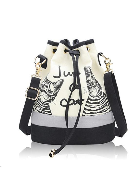 Retro Canvas Bucket Bags Cute Cat Print Shoulder Bag