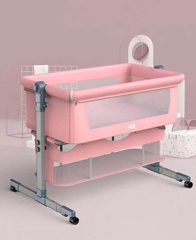 Newborn Portable Mini Crib with Storage Bedside Co Sleeper Attaches to Bed