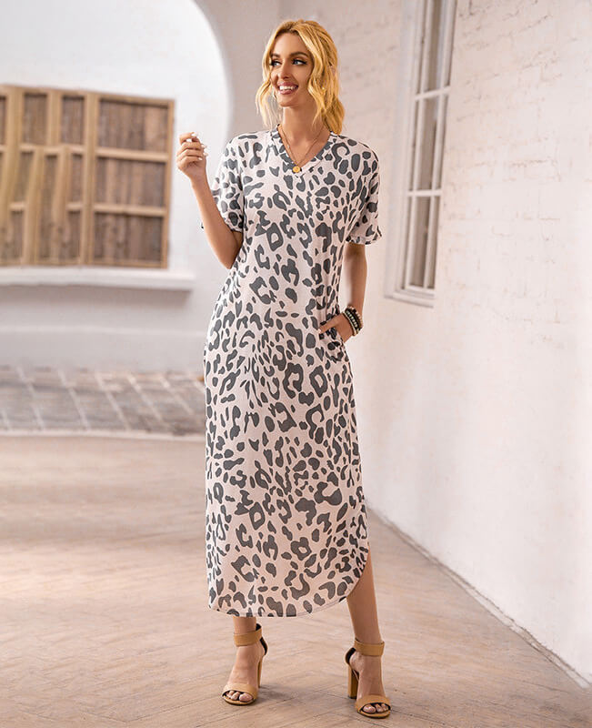 Women's Short Sleeve Leopard Pattern Slit Hem Dress
