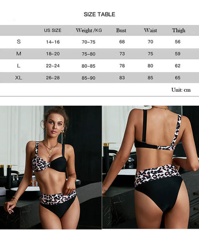 Women's Swimwear High Waist Stitching Leopard Hot Bikini