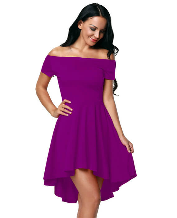Off Shoulder Irregular Hem Solid Color Dress