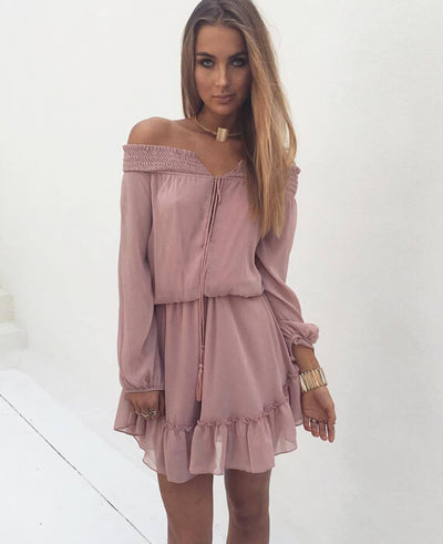 Off the Shoulder Beach Dress-4