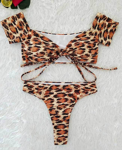 Off The Shoulder Leopard Print Bikini