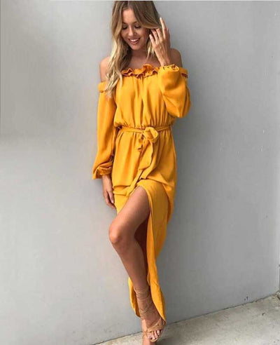 Off the Shoulder Yellow Dress