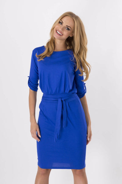 Office Round Neck Knee Length Vintage Dress