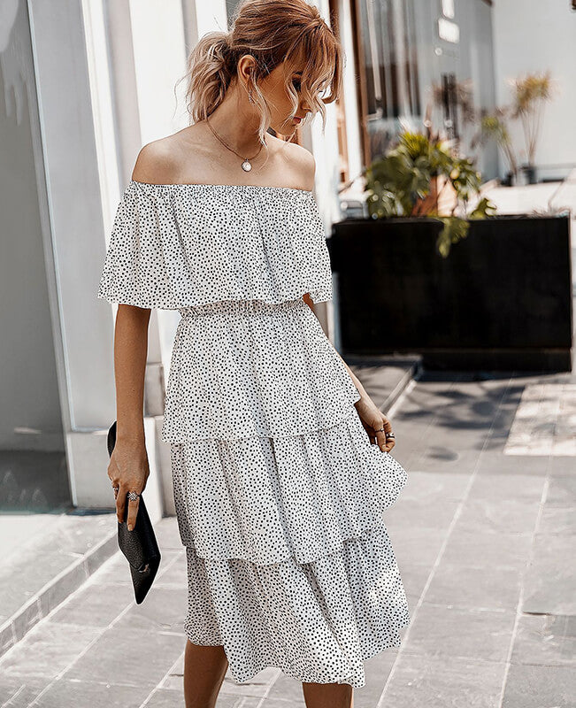 Off the Shoulder Polka Dot Dress