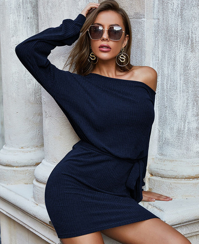 Off the Shoulder Tie Waist Dress Elegant Party Bodycon Pencil Dresses