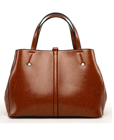 Oil Wax Leather Casual Tote Handbags