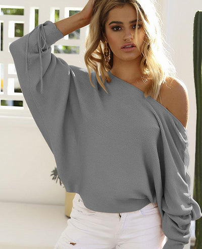One Shoulder Drawstring Pink Sweater