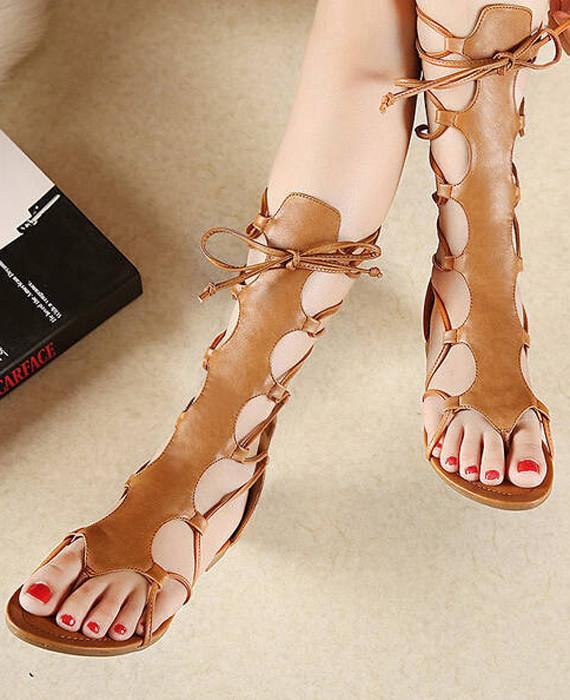 Open Toe Knee High Hollow Out PU Leather Gladiator Sandals-1