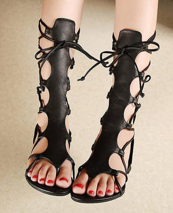 High Open Gladiator Sandals Hollow Leather Toe Out Pu Knee 0w8ZnOkXNP