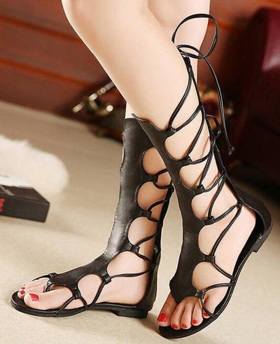 Open Toe Knee High Hollow Out PU Leather Gladiator Sandals