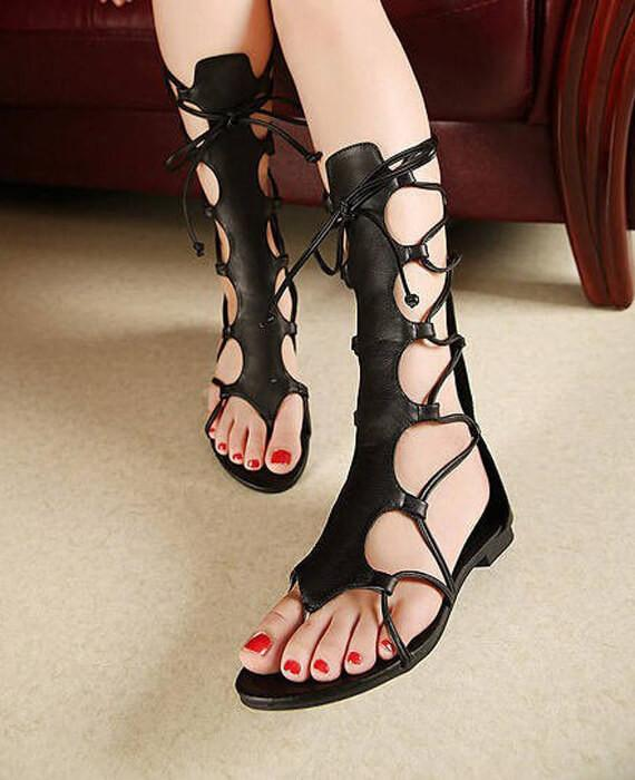 aa6599adf7df Open Toe Knee High Hollow Out Lace Up gladiator sandals - Seamido