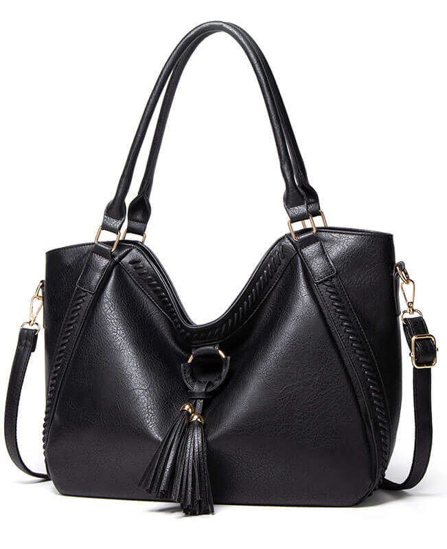 PU Leather Tote Bag with Zipper