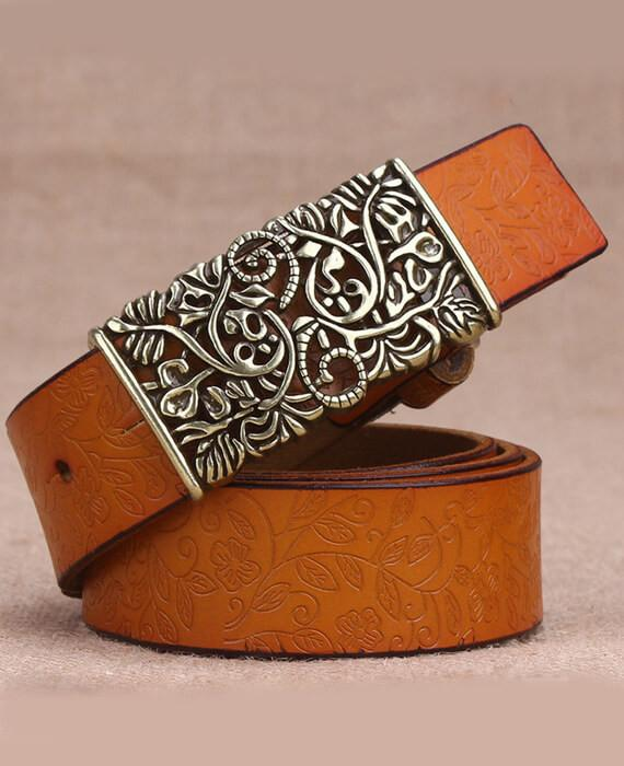 PU Leather Hllow Out Carved Buckle Belt Jeans Belts