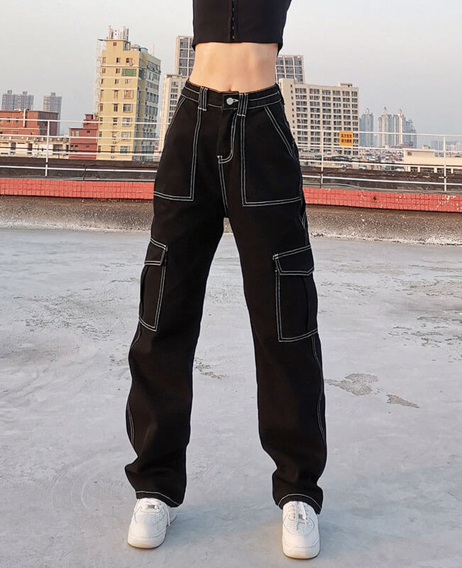 Patchwork Black Baggy Jeans Cargo Pants