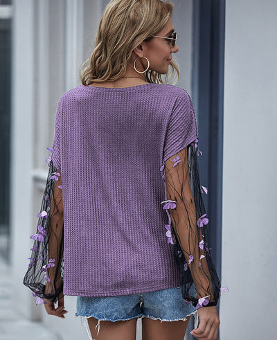 Patchwork Mesh Long Sleeve Top Blouse with Butterfly Design