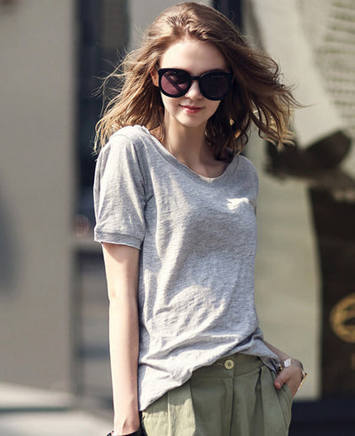 Plain Cotton Simple Solid Color Tees T-Shirt