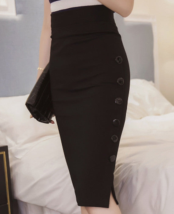 Sexy Midi OL Open Slit Button Slim Pencil Skirt