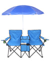 Portable Double Folding Camping Chairs with Removable Umbrella