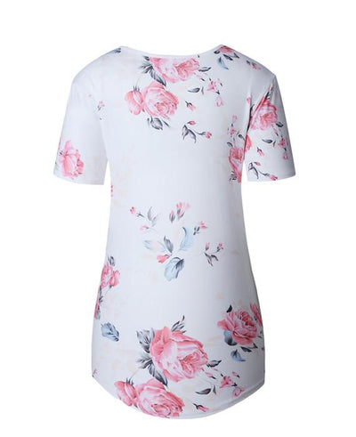 Punk flower Print Cross Bandage T-Shirt