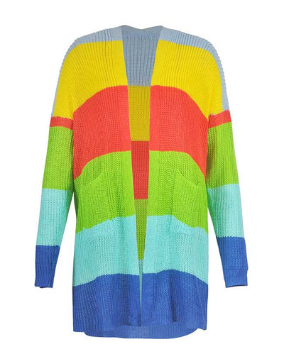 Colorful Striped Sweater Cardigan