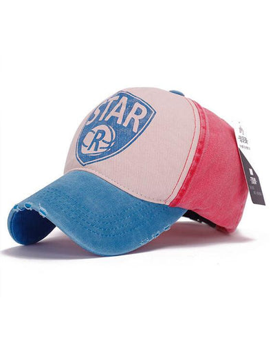 Retro Color Patchwork Letter Baseball Cap