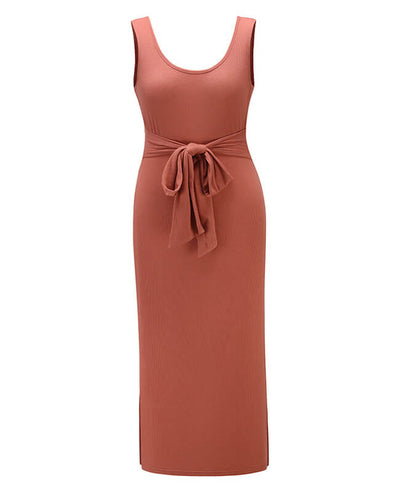 Ribbed Tank Dress Side Split Midi Dress