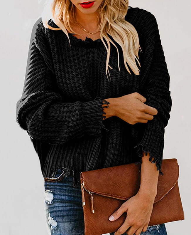Ripped Pullover Cropped Sweater
