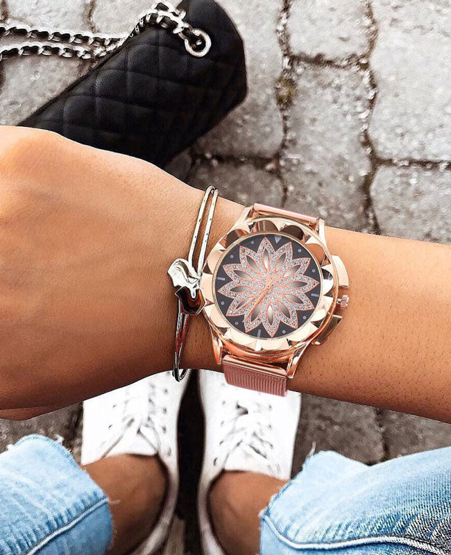 Rose Gold Flower Diamond Watch