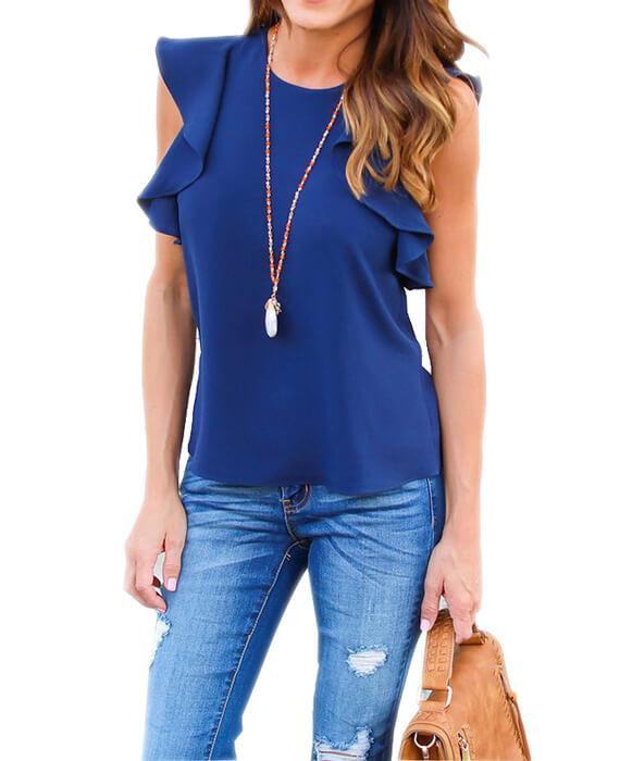 Ruffle Chiffon Short Sleeve Casual Tops Blouse