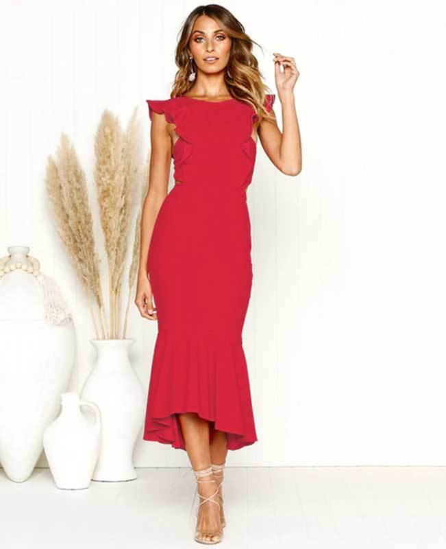 Ruffle Sleeveless Fishtail Bodycon Midi Dress
