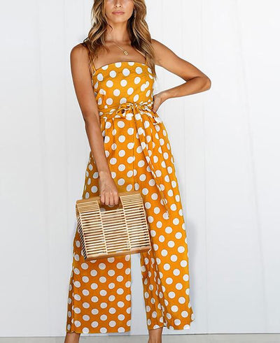 Dot Print Strapless Wide Leg Pants Jumpsuit