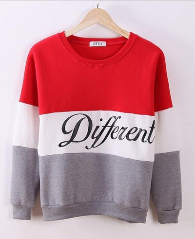 Fleeve Printed Letters Different Casual Sweatshirt