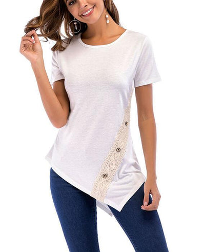 Irregular Hem Lace Button T-shirts