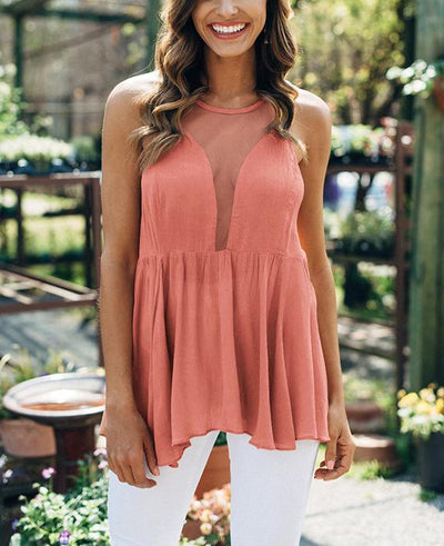 Lace Perspective Sleeveless Backless Shirts-