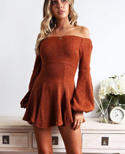 Long Sleeve Mini Slash Neck Dress-5