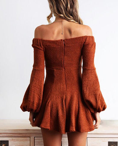 Long Sleeve Mini Slash Neck Dress-7